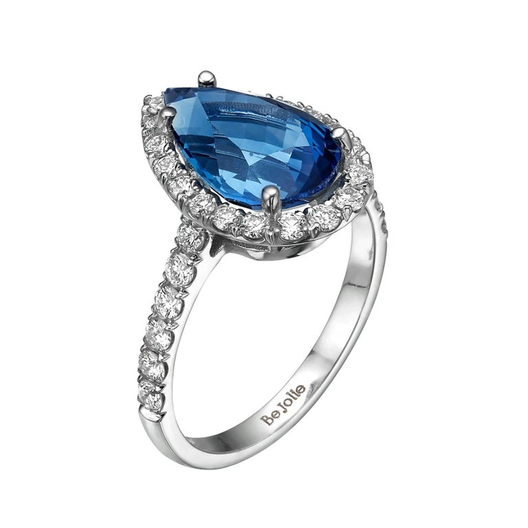 3.53 Carat Pear Shape Blue Sapphire and Diamond  Engagement Ring For Sale