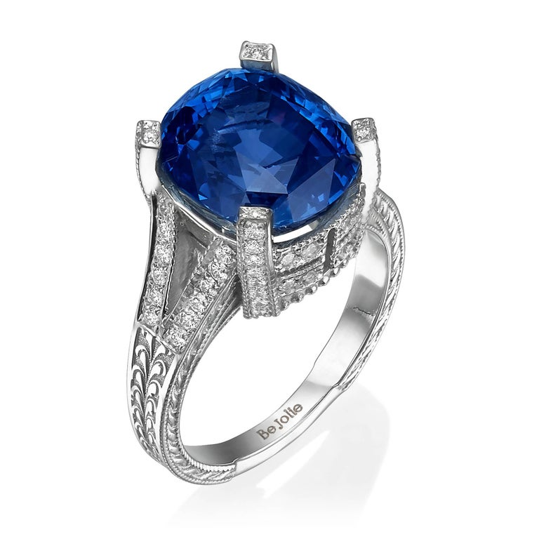 11.01 Carat Blue Sapphire and Diamond engagement Ring, GRS Certified For Sale 1