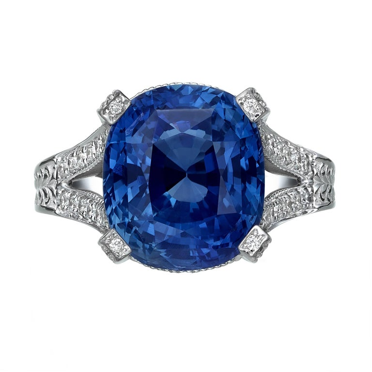 11.01 Carat Blue Sapphire and Diamond engagement Ring, GRS Certified