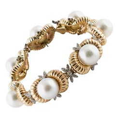 Diamonds and Australian Pearls Beaded gold Bracelet