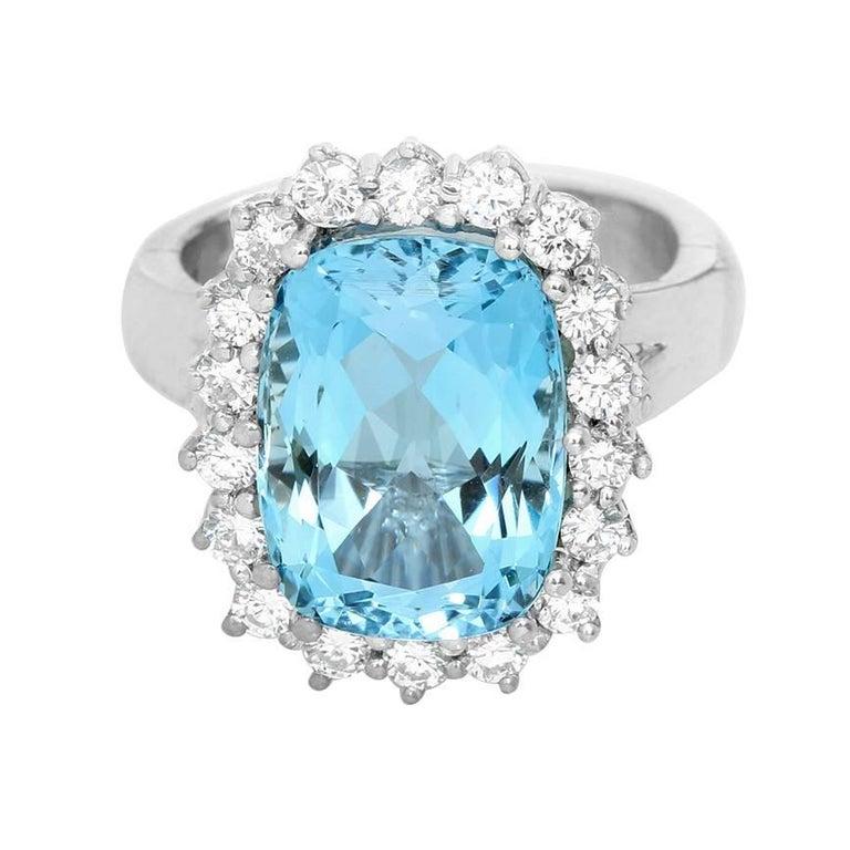 14 Karat White Gold Blue Topaz and Diamond Ring For Sale
