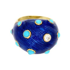 Carvin French Turquoise, Diamond and Enamel Dome Ring