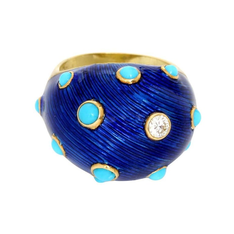 Carvin French Turquoise, Diamond and Enamel Dome Ring For Sale