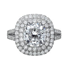 3.28 Cushion Cut Diamond Halo Ring GIA Certified E / VS1