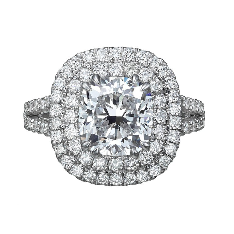 3.28 Carat Cushion Cut Diamond Halo Engagement Ring GIA Certified E / VS1 For Sale