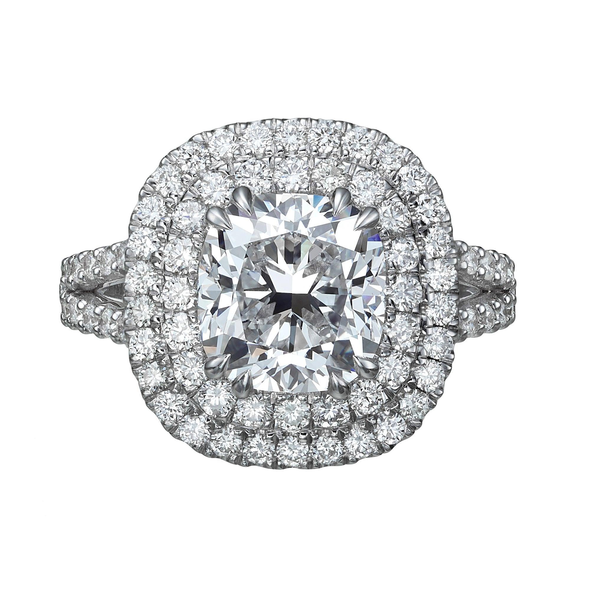 GIA Certified  3.28 Carat Cushion Cut Diamond Halo Engagement Ring E / VS1