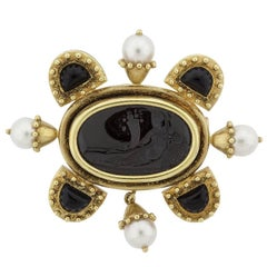 Elizabeth Locke Onyx Intaglio and Cultured Pearl Gold Brooch