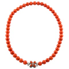 White Gold, Italian Natural Coral Top Quality Beaded Necklace