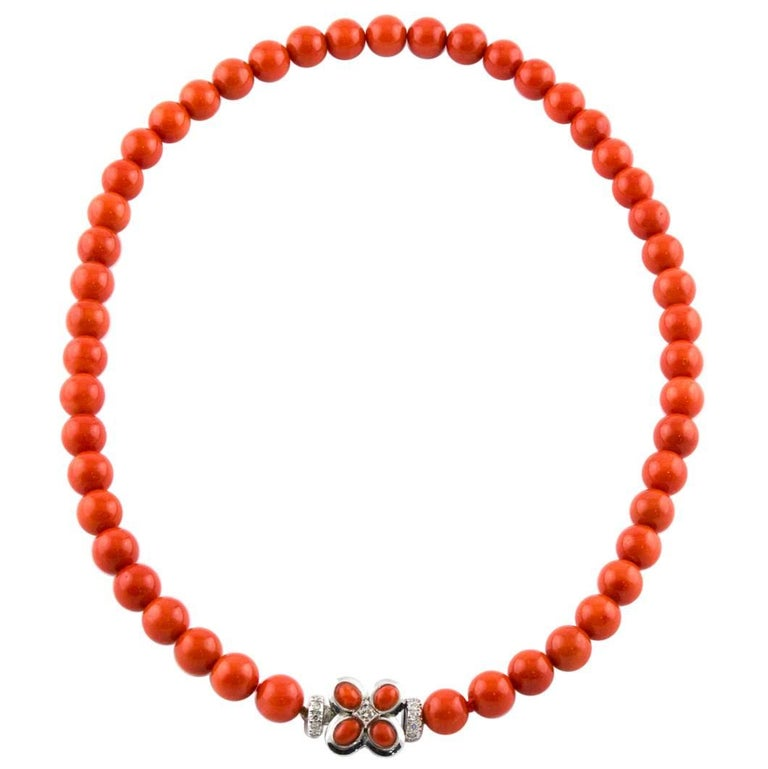 White Gold Italian Natural Coral Top Quality Beaded Necklace