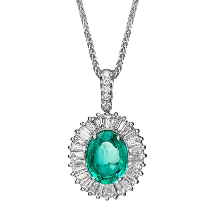 2.18 Carat Emerald and Diamond Ballerina Style Pendant Necklace