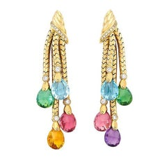 Multi-Color Stones and Gold Ear Pendants