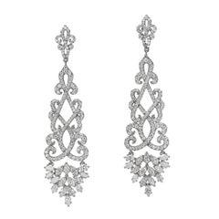 4.22 Carat Dangling Diamond Chandelier Earrings