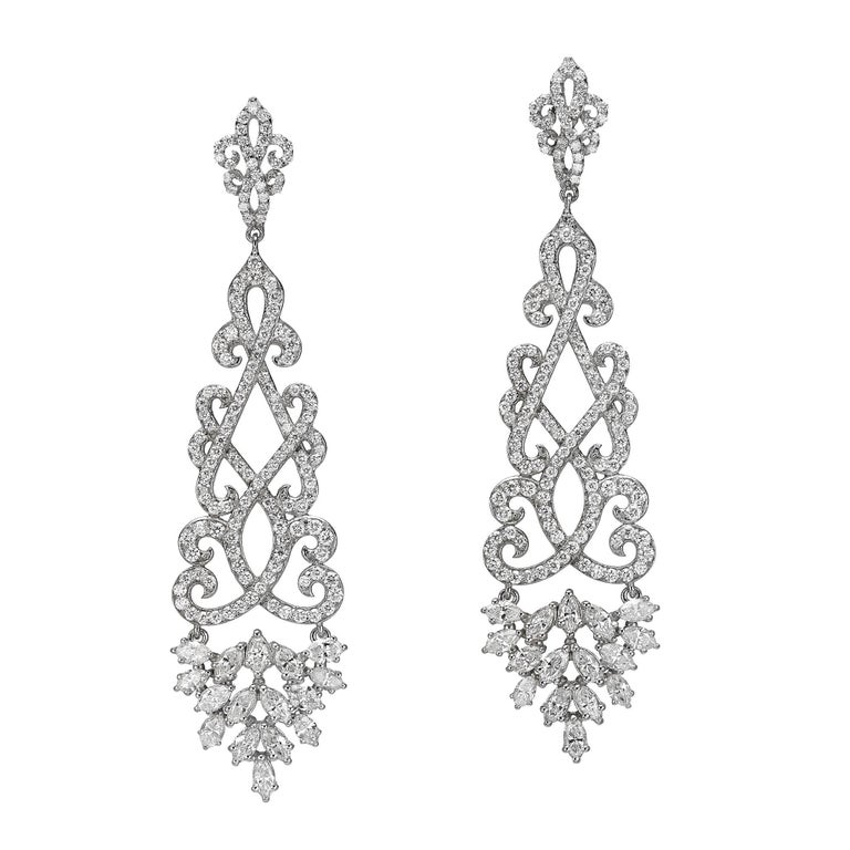 4.22 Carat Dangling Diamond Chandelier Earrings For Sale