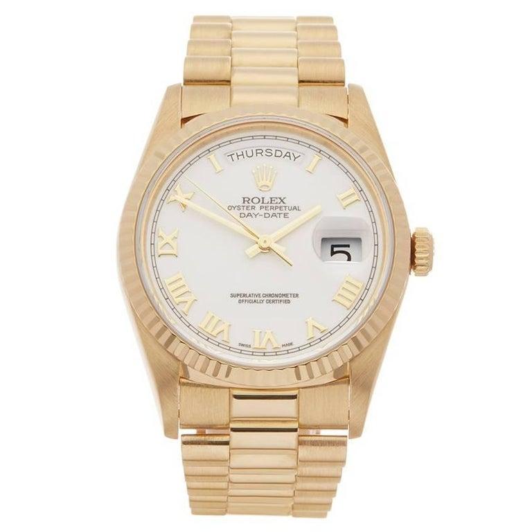 Rolex Day-Date 18 Karat Yellow Gold Gents 18238, 1991