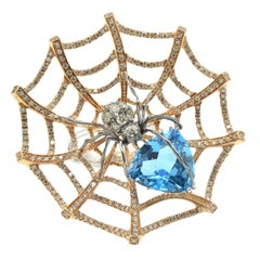 Spider in Web Diamond and Blue Topaz Cocktail Ring