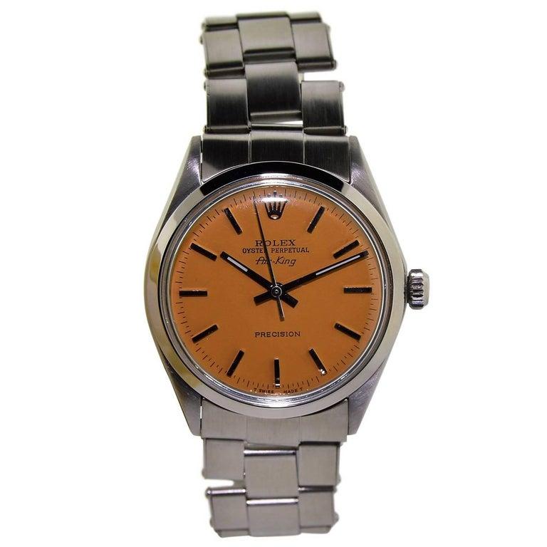 Rolex Air King Stainless Steel Custom Orange Dial Perpetual Wind Watch