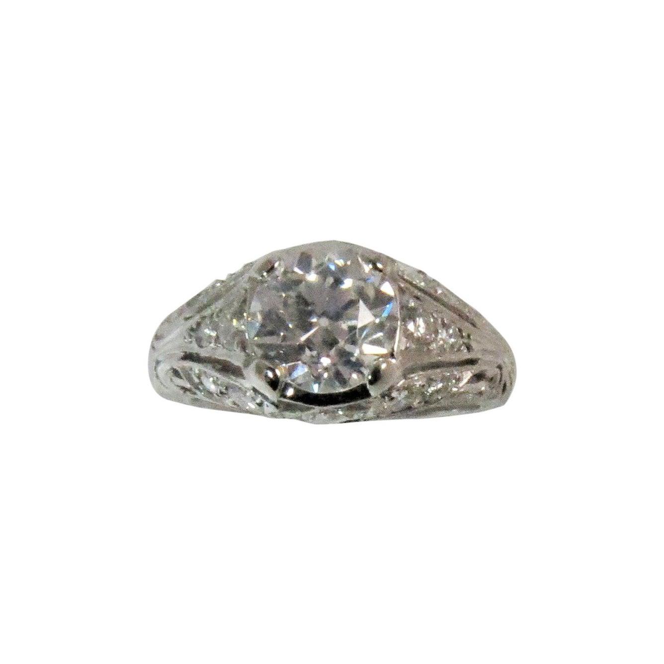 Vintage Platinum Ring With European Cut Diamond