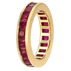 Boorma 14 Karat Princess Cut Ruby 4.8 Carat Channel Set Eternity Band