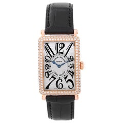 Franck Muller Rose Gold Diamond Bezel Long Island Quartz Wristwatch
