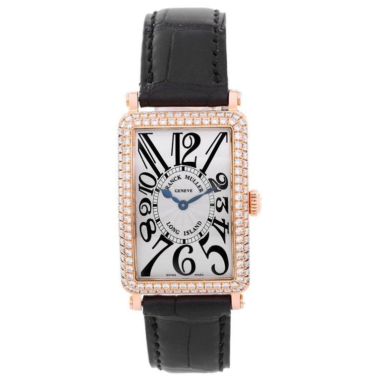 Franck Muller Rose Gold Diamond Bezel Long Island Quartz Wristwatch