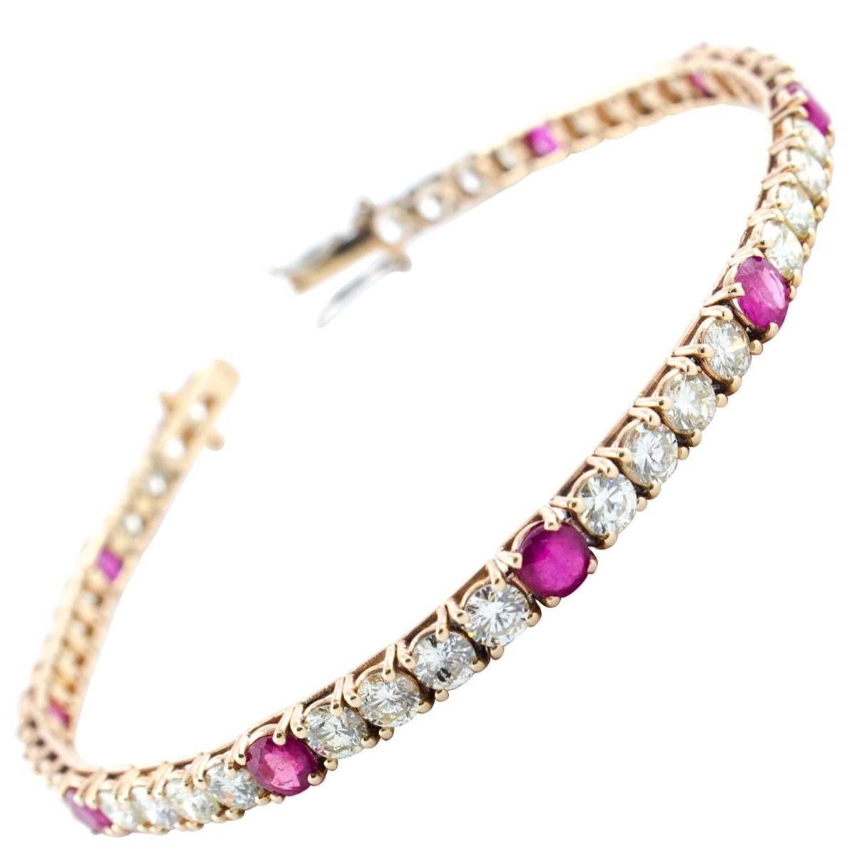 Diamond Ruby Rose Gold Tennis Bracelet