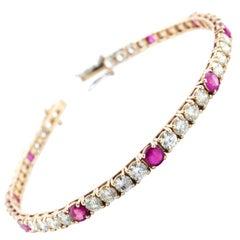 ct.6,42 Diamond,ct 3,28 Ruby Rose Gold Tennis Bracelet