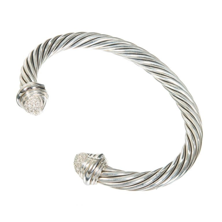 David Yurman .55 Carat Diamond Silver Gold Bangle Bracelet