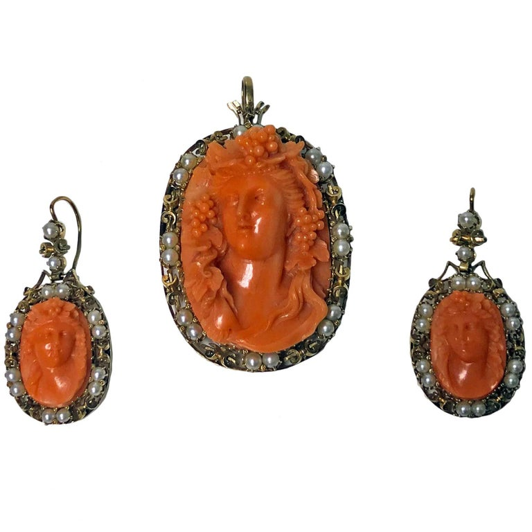 Rare Fine Carved  Coral Corallium Rubrum Pendant Brooch and Earrings, C. 1880