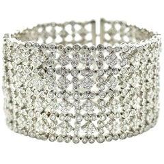 27.46 Carat Diamond Grid Bracelet 18 Karat White Gold