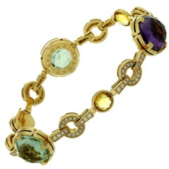 Bulgari Parentesi Diamond Quartz Amethyst Rose Gold Bracelet