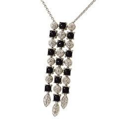 BVLGARI Diamond Onyx Lucia Necklace 18 Karat White Gold