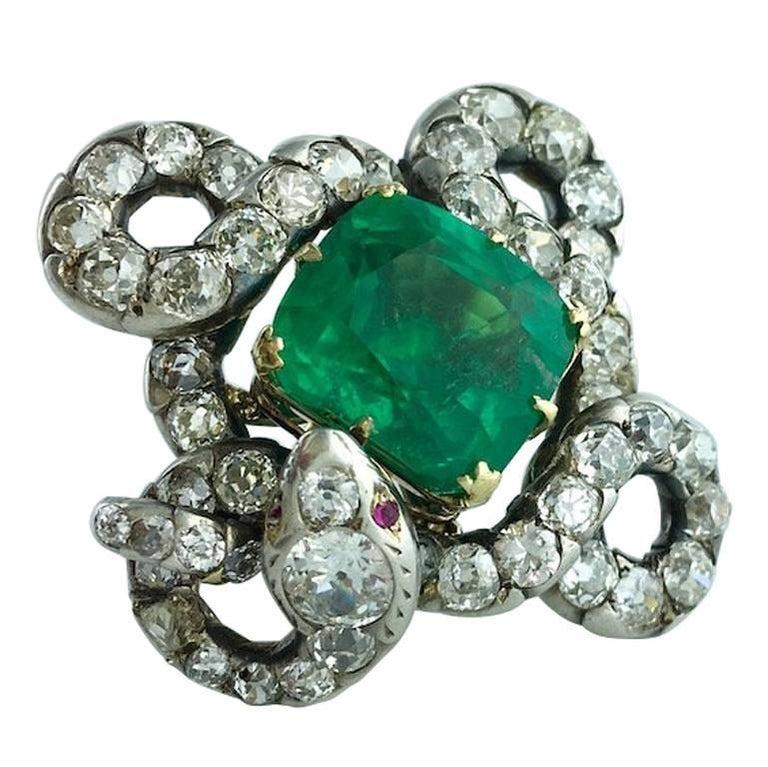 15.43 Carat Colombian Emerald on Antique Italian Snake Diamond Silver Gold Ring