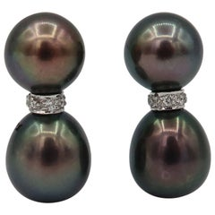 Boon Minimal Baby Tahitian Pearl Diamond White Gold Earrings
