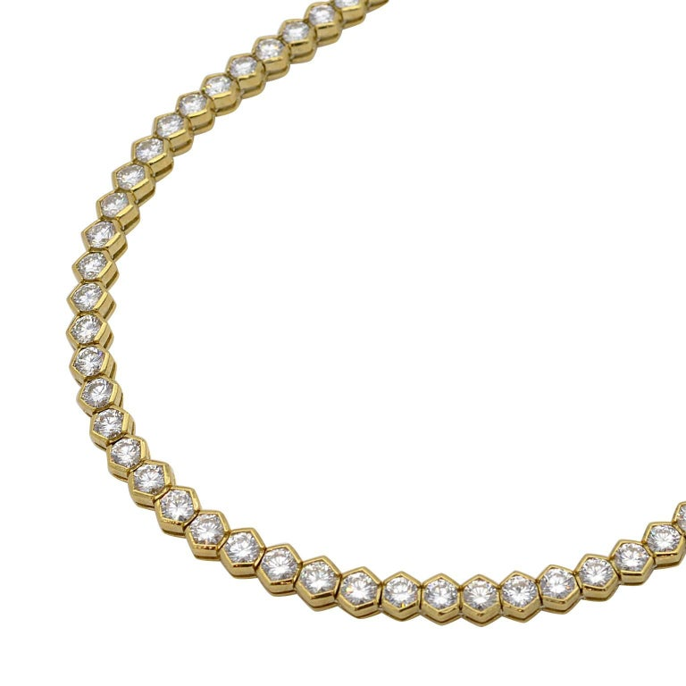 11.04 Carat Diamond Gold Tennis Necklace