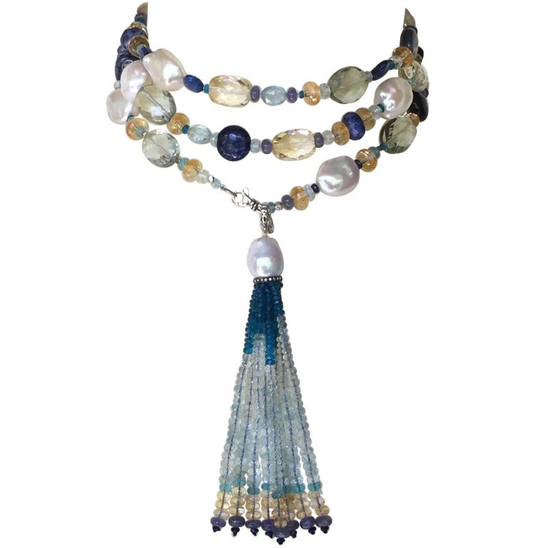 Pearl and Blue Semi-Precious Stone Long Necklace with Tassel and 14 Karat Gold