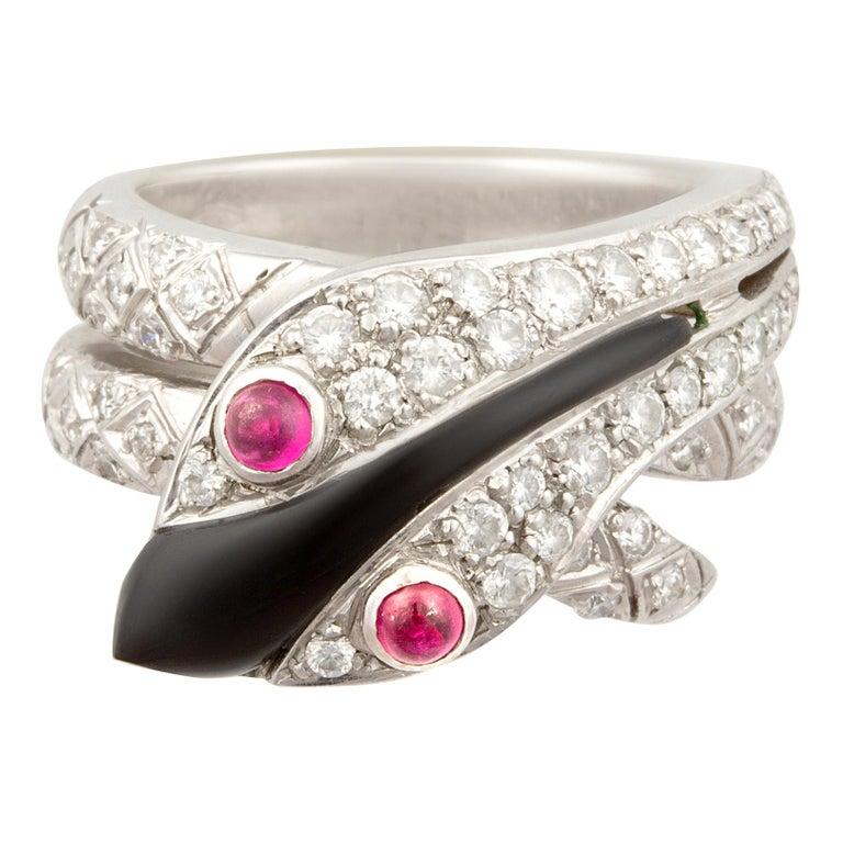 Ella Gafter Snake Ring Diamonds Ruby Onyx