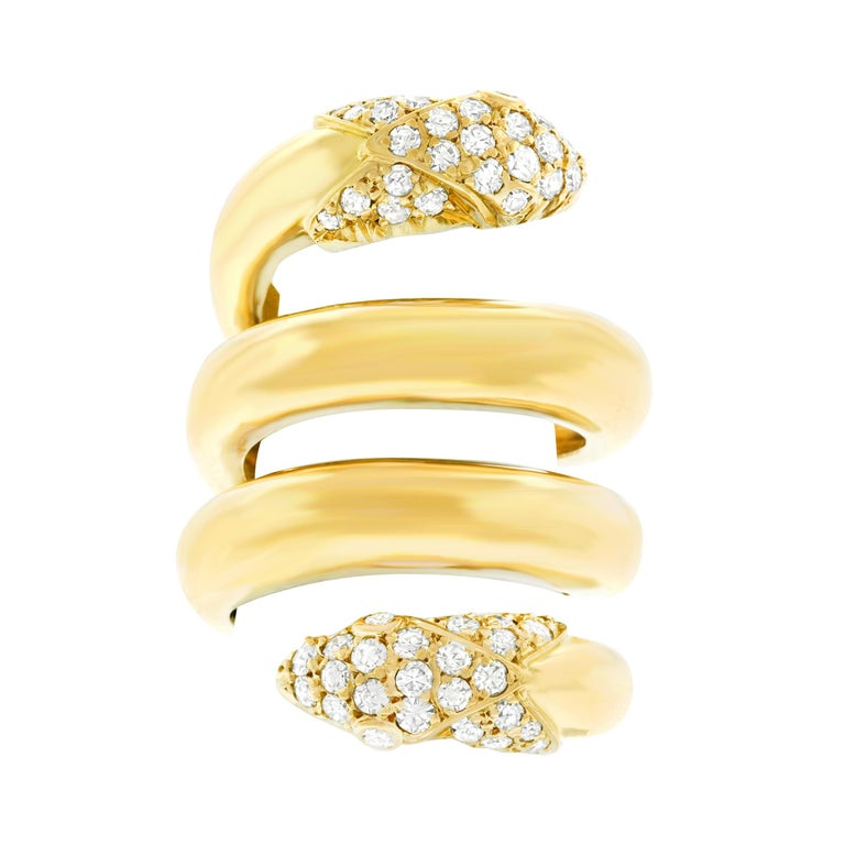 Christian Dior 1960s Diamond Set Gold Snake Ring For Sale
