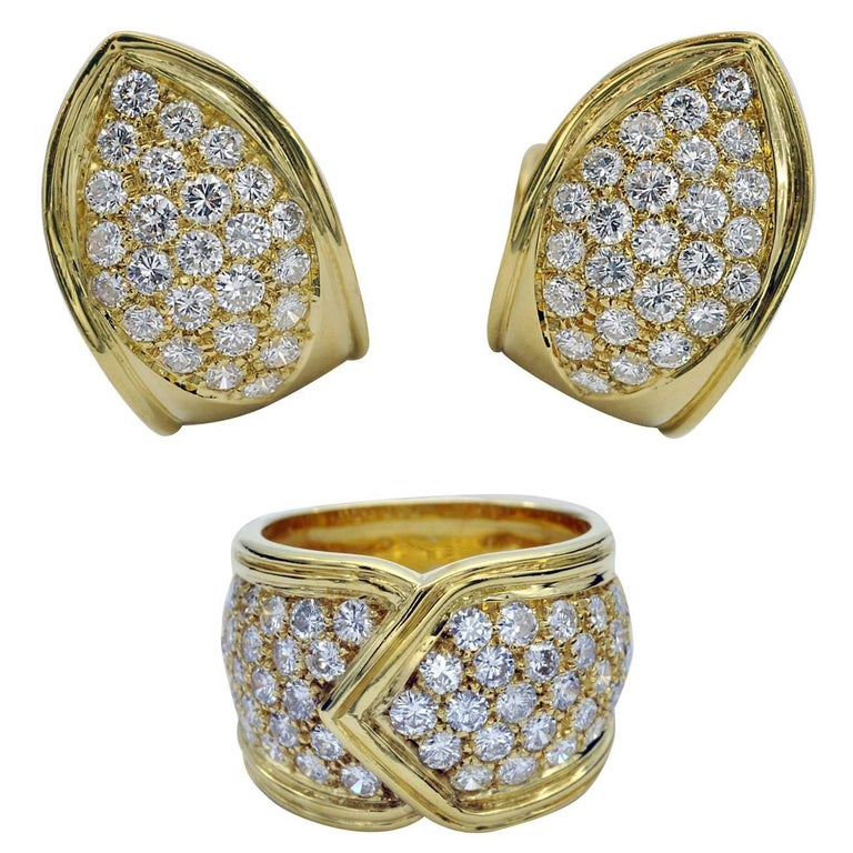 Diamond and Yellow Gold Ring and Earring Set