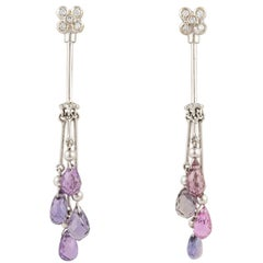 Ella Gafter Purple Violet Sapphire Briolette and Diamond White Gold Drop Earring