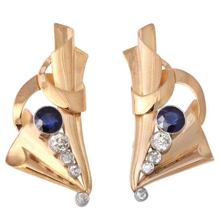 Impressive Retro Sapphire and Diamond Clip Earrings, circa 1940s