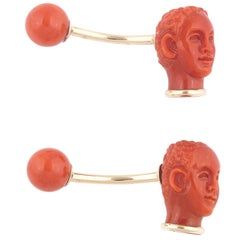 Coral Moors Head Gold Cufflinks