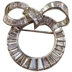 8 Carat Platinum and Diamond Ribbon Wreath Pin