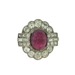 1930s Antique Cartier Platinum 3 ct Ruby and 3.2 ct Diamond Cocktail Ring