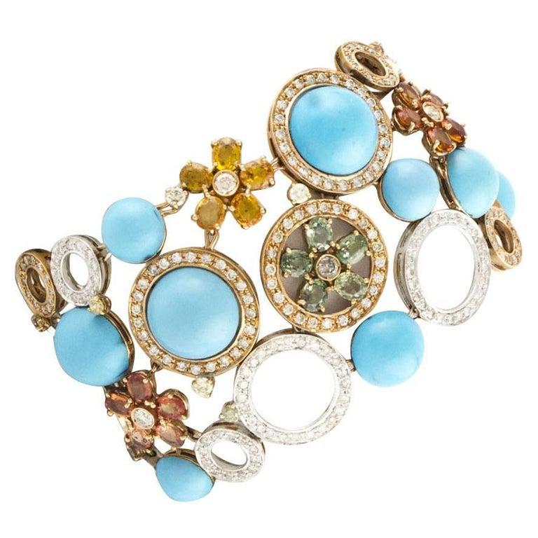 Diamonds Sapphires Gold Rose White Bracelet