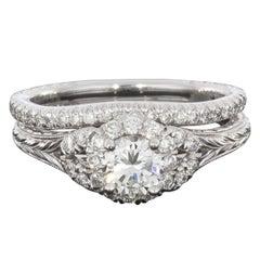 0.92 Carat Round Diamond 14 Karat White Gold Halo Wedding Set