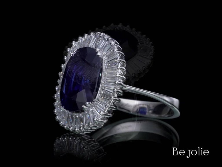 Ballerina Style 6.97 Carat Cushion Cut Blue Sapphire & Diamonds engagement ring In New Condition For Sale In New York, NY