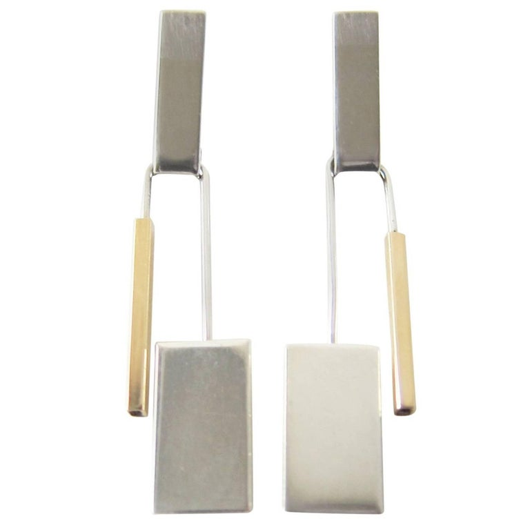 Betty Cooke Gold Sterling Silver Kinetic Modernist Earrings For Sale