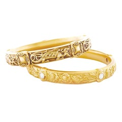 Pair of Riker Brothers Art Nouveau Gold Bangles