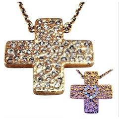 Series 'Les Lumineuses',   Love Diamond Yellow Gold Cross Pendant Necklace