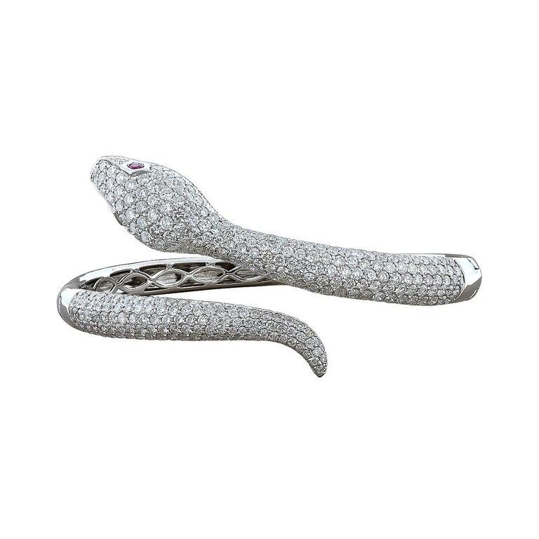 Diamond Ruby Gold Snake Cuff Bracelet